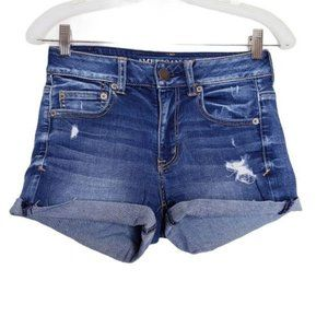 American Eagle High Rise Distressed Jean Shorts 2
